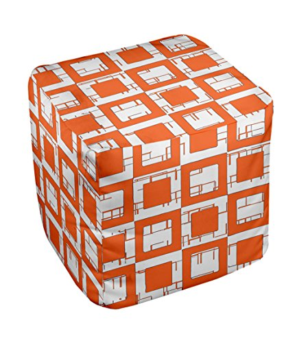 E by design FG-N2-Celosia_Orange-18 Geometric Pouf