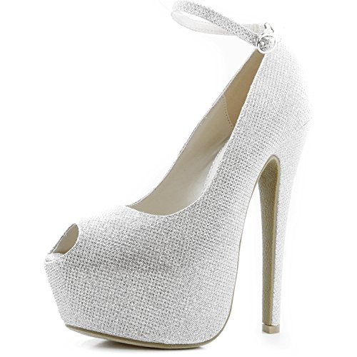 05. Women's Extreme High Fashion Ankle Strap Peep Toe Hidden Platform Sexy Stiletto High Heel Pump Shoes