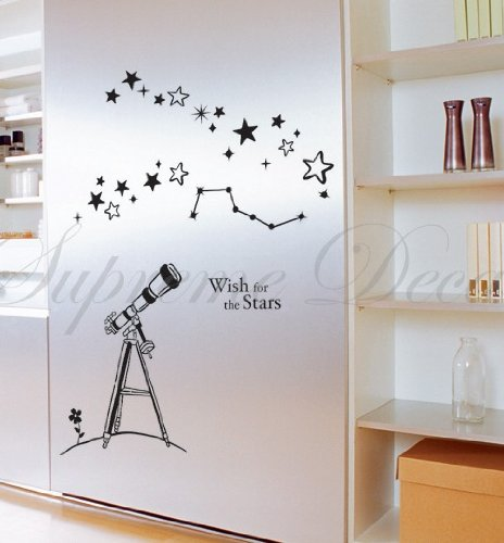 Custom Popdecals - Wish For The Stars - Beautiful Tree Wall Decals For Kids Rooms Teen Girls Boys Wallpaper Murals Sticker Wall Stickers Nursery Decor Nursery Decals