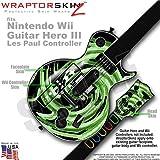 Alecias Swirl 02 Green Skin by WraptorSkinz TM fits Nintendo Wii Guitar Hero III (3) Les Paul Controller (GUITAR NOT INCLUDED)