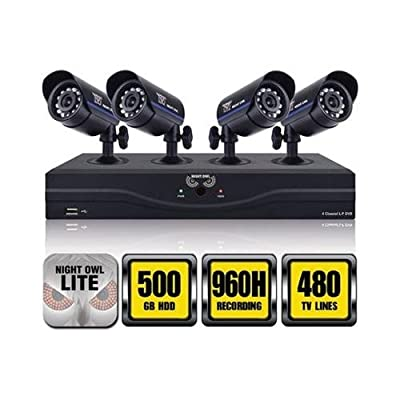 Night Owl Security L-45-4511 4-Channel 960H DVR with 500GB HDD HDMI Output 4 Night Vision Cameras and Free Night Owl Lite App (Black)(Certified Refurbished)