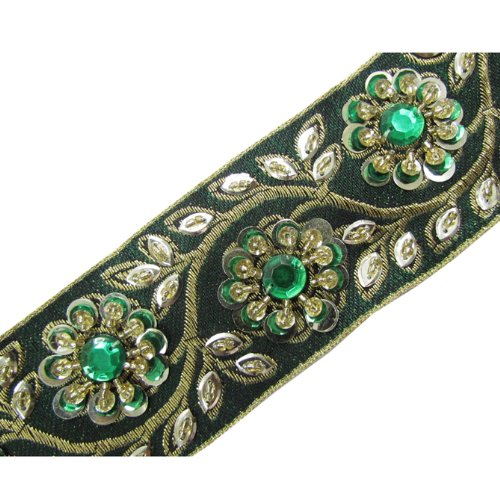 1 Yd Green Hand Beaded Sequin Stone Trim Lace Sewing