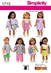 Simplicity 1713 18-Inch Doll Clothes Sewing Pattern Size