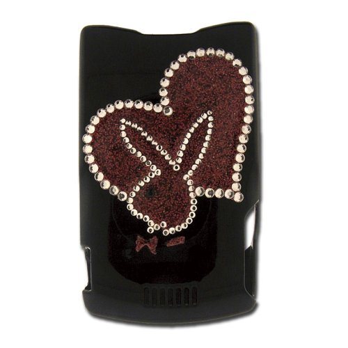 Licensed Black Playboy Snap-On for V3 with Glitter Heart and Bunny Outlined in Rhinestones (Playboy Bunny Phone Accessories compare prices)