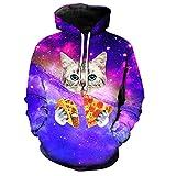 GUAngqi Men Women's Cat Print Hoodie 3D Galaxy Sweatshirts Harajuku Animal Sweatshirt Pullover Coat,black,6XL