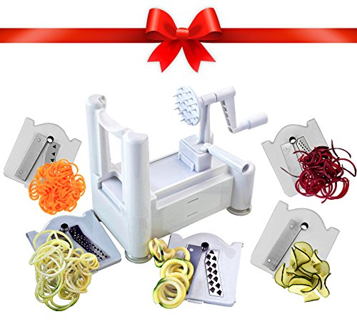 5 Blade Spiralizer - Best Vegetable Maker, Spiral Slicer, Terrine Maker and Shredder You'll Ever Use! Makes Zucchini Noodles, VeggieSpaghetti, Pasta, and Cut Vegetables in Minutes.