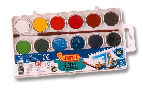 JOVI Wasserfarbkasten 12 Farben 22mm - günstiger Kinder Malkasten mit 12 Wasserfarben inklusive Pinsel