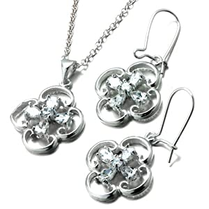 Pugster 3 Pieces of 925 Sterling Silver Clover April Birthstone Crystal Wedding Pendant Earrings Set Jewelry Gift Cubic Zirconia Pendants