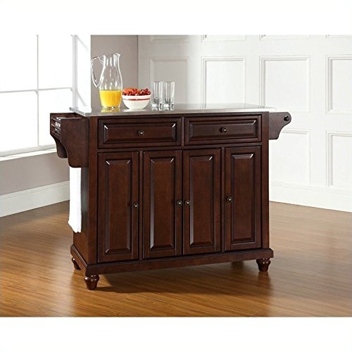 Crosley Furniture Cambridge Stainless Steel Top Kitchen Island, Vintage Mahogany (Mahogany Kitchen Cabinets compare prices)