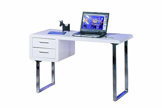 Links - Blanco 11 scrivania con cassetti, laccato bianco, 76 x 120 x 55 cm