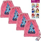 "Princess Castle 5-Piece Mesh Tote Backpack Bags Set - 4 Princess Castle Mesh Front Sling Backpack Tote Party Favor Bags (10.5"" x 12"") PLUS 1 Pack Disney Princess Stickers Featuring Ariel - The Little Mermaid, Belle, Cinderella, Jasmine, Sleeping Beauty and Snow White (4 Sheets) for Kids"