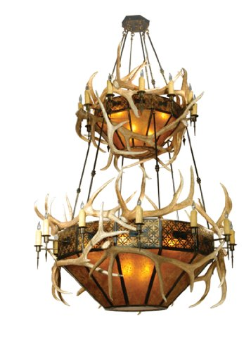 B001YS2VZE Meyda Tiffany 81332 Elk Antlers Collection 40-Light 2-Tier Chandelier, Authentic Elk Antlers Accent Amber Mica Shades and Antique Copper Finish