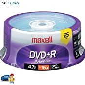 DVD R 4.7GB 16x Write-Once Recordable Disc Spindle Pack Of 25 And Free 6 Feet Netcna HDMI Cable - By NETCNA