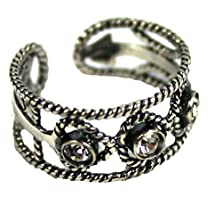 buy Toe Ring Fancy Rope Antiqued Sterling Silver Clear Stones Gift