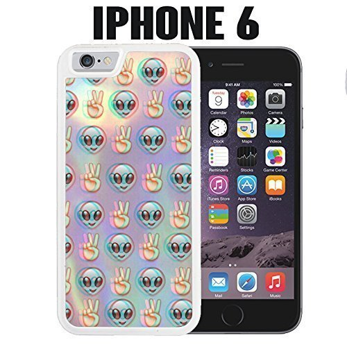 iPhone Case Psychedelic Alien Emoji Pattern for iPhone 6 Rubber White (Ships from CA) (Kaylee Ca compare prices)