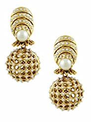 The Art Jewellery Rajwadi Net Drop Earrings For Women With Moti