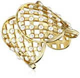 Ben-Amun Jewelry Lattice Simulated Pearl Statement Cuff Bracelet