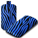 IGloo Zebra Print Pouch Case Cover Sleeve with Pull Tab for the Samsung Galaxy S Advance i9070 Mobile Phone - Blue