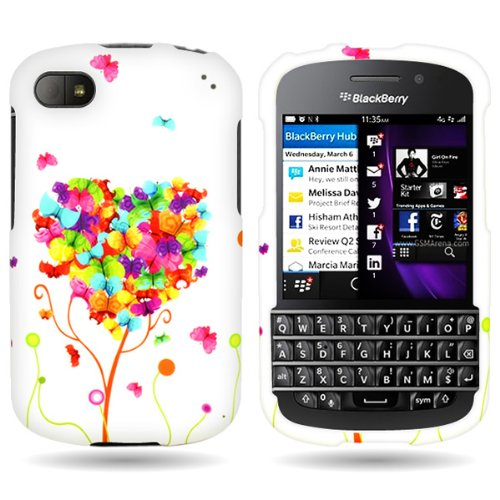 Coveron® Slim Hard Case For Blackberry Q10 With Cover Removal Tool - (Butterfly Heart)