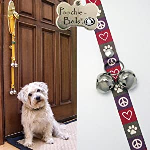 PoochieBells The Trusted Name in Dog Training Doorbells in Classic Peace Love Dog Design