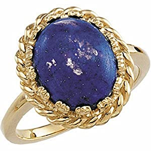 18K Yellow Gold Lapis Lazuli Ring -- LIFETIME WARRANTY