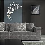 """Soledì- Murales Adesivi """"Specchio 20 Farfalla Farfalle Tono 3D Effetto Argento"""" Adesivo Sticker Murali Decorazione da Parete, FAI DA TE!"""