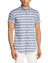 Adamo London Men's Casual Shirt (SHTADSP16006_Small_White and Grey)