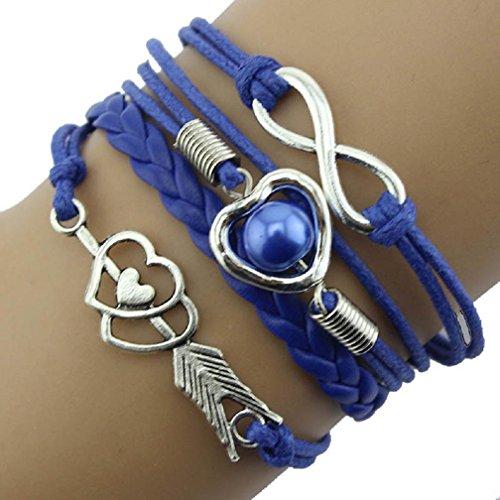 Malloom® Trendy Donne Infinity Amicizia antica sveglia del cuoio del braccialetto di fascino di regalo (Blu)