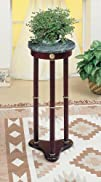 Coaster Plant Stand  Side Table Green Marble Top and Cherry