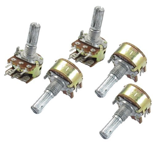 Amico 5 Stk. B50K 50K ohm 6 Pins Split Shaft Rotary Linear Dual Taper Potentiometer