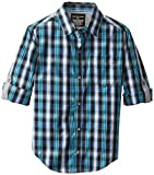 Calvin Klein Big Boys CK Woven Long Sleeve Rollup Shirt, Black, Medium