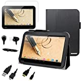 BIRUGEAR SlimBook Leather Folio Stand Case with HDMI Cable, Screen Protector for Toshiba Excite Write - 10.1 inch Tablet (AT15PE-A32 / AT10PE-A-104)