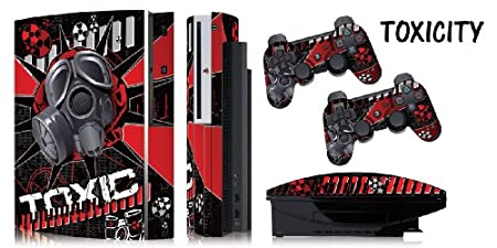 Protective skins for FAT Playstation 3 System Console, PS3 Controller skin included - TOXICITY RED