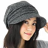 AWシャイニングキャスケット 大きいサイズ 帽子 レディース キャスケット ハット つば長 つば広 紫外線対策 小顔効果 防寒対策 秋冬 【フリーサイズ(56-58cm)-ブラック】