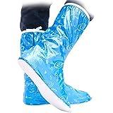 YB 防水レインシューズカバー 靴の上から履ける!持ち歩きコンパクトで携帯便利!青&ピンクのバイクブーツ雨具