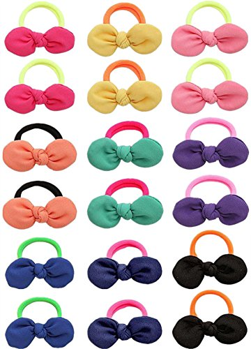 Qandsweet 9 Pairs Girl's Bowknot Hair Rope Ponytail Kids Holder Elastic Hair Ties