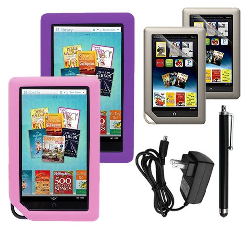 Skque 2 PACKS Clear Screen Protector + Purple and Pink Soft Silicone Cover Case + Touch Screen Tablet/Smart Phone Stylus Pen(Black Body) + 2000Mah Wall Charger for Barnes&Noble Nook Color Ebook Reader