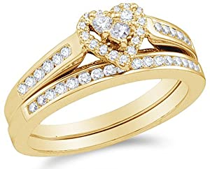 Size 7.5 - 10K Yellow Gold Diamond Ladies Bridal Engagement Ring with Matching Wedding Band Two 2 Ring Set - Halo Heart Shape Center Setting w/ Channel Set Princess Cut & Round Diamonds - (.55 cttw)