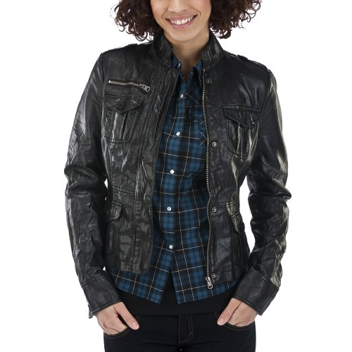 Coffee Shop Faux Leather Nipped Waist Moto Jacket - Black