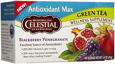 Celestial Seasonings Antiox Max Blackberry Pom Green Tea Bags 20 ct
