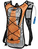 Hydration Pack - Ultra Lightweight! - Minimalist Backpack and 2L Water Bladder/Bottle. Perfect for Camping, Hiking, Running, Cycling, Fishing, Hunting, Fun/Mud Run. 1 Yr Hassle-Free Warranty (Orange)