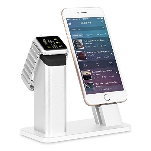 Apple-Watch-Standziku-Aluminum-Charging-Stand-Dock-Station-Cradle-Holder-for-Apple-WatchiPhone-Support-Apple-Watch-NightStand-Mode-and-iPhone-SE55s66SPLUS-with-Various-CaseBrilliant-Silver