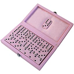 Avery Dominoes in Pink Leatherette Case - Double Six D6 Game Set - 28 Urea Domino Pieces
