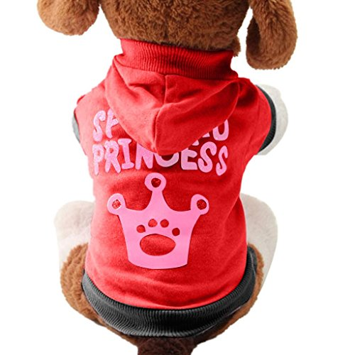 Puppy Clothes,Neartime Pet Outfit Crown Pattern Doggy Cute Coat Hooded Cotton Shirt (XS, Red) (Doggy Clothing)