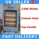 Halogen Heater 1200W Electric Oscillating Heaters for Home Office WARM Winter WHITE