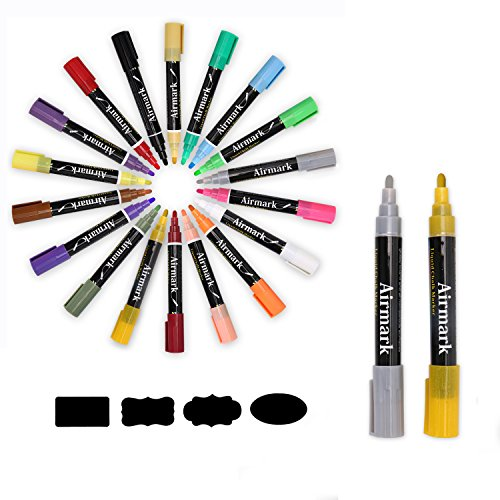 Airmark Liquid Chalk Markers Pens, 18 Colored 4 more 6mm Reversible Tip with 32 Free Reusable Chalkboard Labels,Extra GOLD and SILVER special colore ,Washable Neon Plus Earth Colors (Colored Paint Markers compare prices)