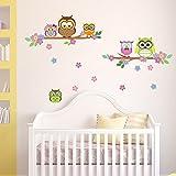 Eulen-ste-und-Blumen-Wandsticker-Owl-Wanddekoration-Wohndeko-Kinderzimmer-Babyzimmer-Jugendzimmer-Wohnzimmer-Wand-Aufkleber-niedlich-s-Baum-Flower-Vogel-Zweig-schn-cute-Wandbild-selbstklebend