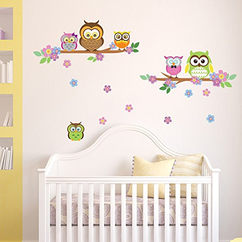 Eulen ste und blumen wandsticker owl wanddekoration for Wanddekoration babyzimmer