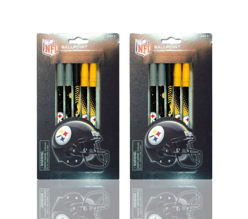 NFL Pittsburgh Steelers 2 Pack Set Includes 10 Ball Point Pens at Amazon.com
