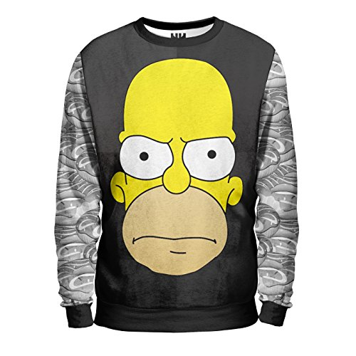 HOMER INCAZZATO - Angry Homer Sweatshirt Man - Felpa Uomo - The Simpson Bart Lisa Marge Maggie, T-Shirt Cartone Animato Cartoon